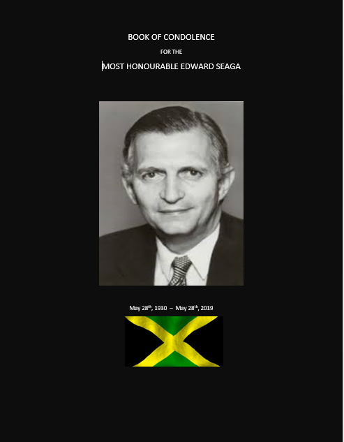 BOOK OF CONDOLENCE FOR THE  MOST HONOURABLE EDWARD SEAGA